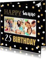 Verjaardagskaarten - Verjaardagskaart fotocollage goud confetti
