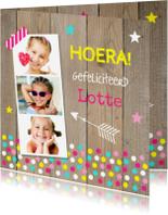 Verjaardagskaarten - Verjaardagskaart fotocollage meisje confetti