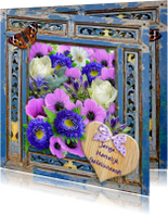 Verjaardagskaarten - Verjaardagskaart  frame met bloemen en wens
