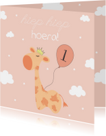 Verjaardagskaarten - Verjaardagskaart Giraffe - Meisje