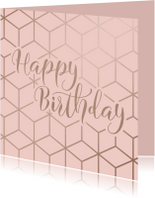 Verjaardagskaart Happy Birthday geometrisch patroon roze
