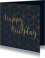Verjaardagskaarten - Verjaardagskaart Happy Birthday geometrisch patroon
