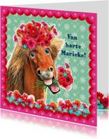 Verjaardagskaarten - verjaardagskaart hip paard zeegroen roze
