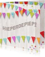 Verjaardagskaarten - Verjaardagskaart hout vlag av