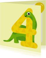 Verjaardagskaarten - Verjaardagskaart jongen - 4 jaar dinosaurus