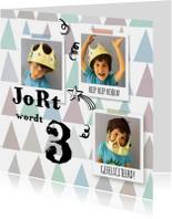 Verjaardagskaarten - Verjaardagskaart jongen fotocollage dessin