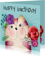 Verjaardagskaarten - Verjaardagskaart - Kat met bloemen - SK