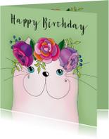 Verjaardagskaarten - Verjaardagskaart kat met bloementooi - SK