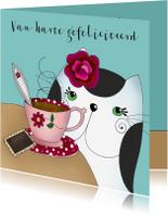 Verjaardagskaarten - Verjaardagskaart kat met kopje thee of koffie