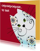 Verjaardagskaarten - Verjaardagskaart kat oepsiepoepsie
