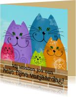 Verjaardagskaarten - Verjaardagskaart katten op muur