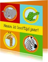 Verjaardagskaarten - Verjaardagskaart kind dieren