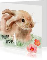 Verjaardagskaarten - Verjaardagskaart Konijntje aquarel