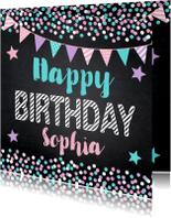 Verjaardagskaarten - Verjaardagskaart krijtbord confetti slinger sterren