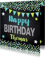 Verjaardagskaarten - Verjaardagskaart krijtbord confetti slinger