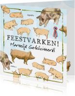 Verjaardagskaarten - Verjaardagskaart Lang Leve de Boerderij Feestvarken