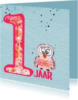 Verjaardagskaarten - Verjaardagskaart meisje 1 jaar