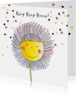 Verjaardagskaarten - Verjaardagskaart meisje getekende bloem en confetti