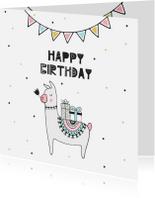 Verjaardagskaarten - Verjaardagskaart meisje met lama