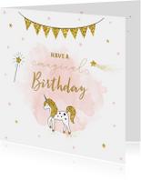 Verjaardagskaarten - Verjaardagskaart meisje met unicorn en gouden sterren