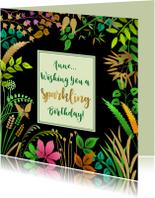 Verjaardagskaarten - Verjaardagskaart met blaadjes op zwart