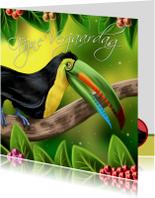 Verjaardagskaarten - Verjaardagskaart met een vrolijke toekan