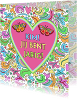 Verjaardagskaarten - Verjaardagskaart met hart en vlinders - HE