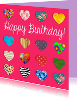 Verjaardagskaarten - Verjaardagskaart met hartjes