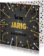 Verjaardagskaarten - Verjaardagskaart met naam krijtbord en sterren