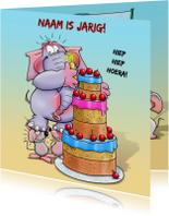 Verjaardagskaarten - Verjaardagskaart met olifant, taart en 2 muisjes