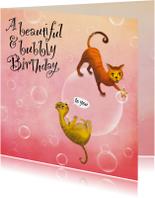 Verjaardagskaarten - Verjaardagskaart met poezen op bellen! Is het champagne!?