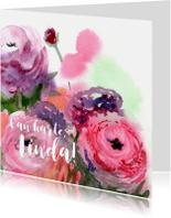 Verjaardagskaart met ranonkels schilderij