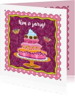 Verjaardagskaarten - Verjaardagskaart met taart en vlinders - HE