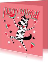 Verjaardagskaarten - Verjaardagskaart party animal