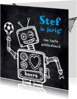 Verjaardagskaarten - Verjaardagskaart robot krijtbord