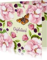 Verjaardagskaart Romantische roos met vlinder