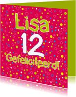 Verjaardagskaarten - Verjaardagskaart roze rond - SZ
