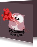 Verjaardagskaarten - Verjaardagskaart rozen en uil mocards