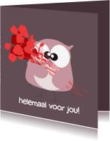 Verjaardagskaarten - Verjaardagskaart rozen en uil
