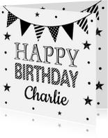 Verjaardagskaarten - Verjaardagskaart slinger zwart wit confetti