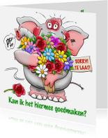 Verjaardagskaarten - Verjaardagskaart Sorry te laat olifant bos bloemen
