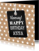 Verjaardagskaarten - Verjaardagskaart sterren labelprint kraft