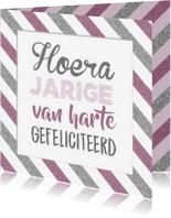 Verjaardagskaarten - Verjaardagskaart streep pink