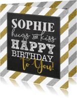 Verjaardagskaarten - Verjaardagskaart streep zilver goud