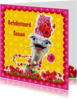 Verjaardagskaarten - verjaardagskaart struisvogel