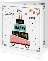 Verjaardagskaart taart & confetti