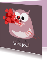 Verjaardagskaarten - Verjaardagskaart uiltje met rozen voor vrouw