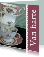 Verjaardagskaarten - Verjaardagskaart vintage servies 80 jaar