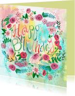 Verjaardagskaarten - Verjaardagskaart vrolijk bloemen