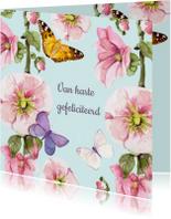 Verjaardagskaart Vrolijke bloemen vlinders